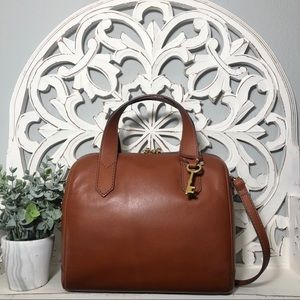 Fossil Fiona Satchel Medium Brown Leather
